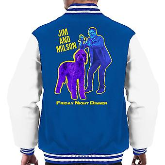 Friday Night Dinner Jim And Wilson Blue And Purple Men's Varsity Jacket