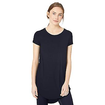 Daily Ritual Women's Jersey Short-Sleeve Open Crew Neck Tunic, Navy,Large