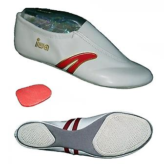 » IWA-401 «draai ballet slippers / kunst sneakers, leer, wit».