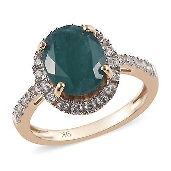 AAA Grandidierite 9ct Yellow Gold Halo Ring Cambodian Zircon , 1.63 Ct TJC