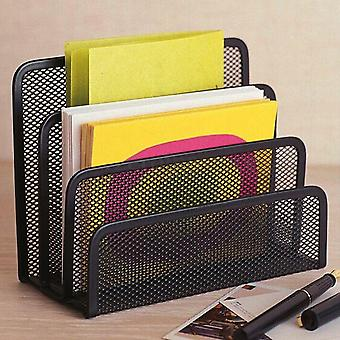 Black Mesh Letter Paper File Storage Rack And Desktop Tray Organiser