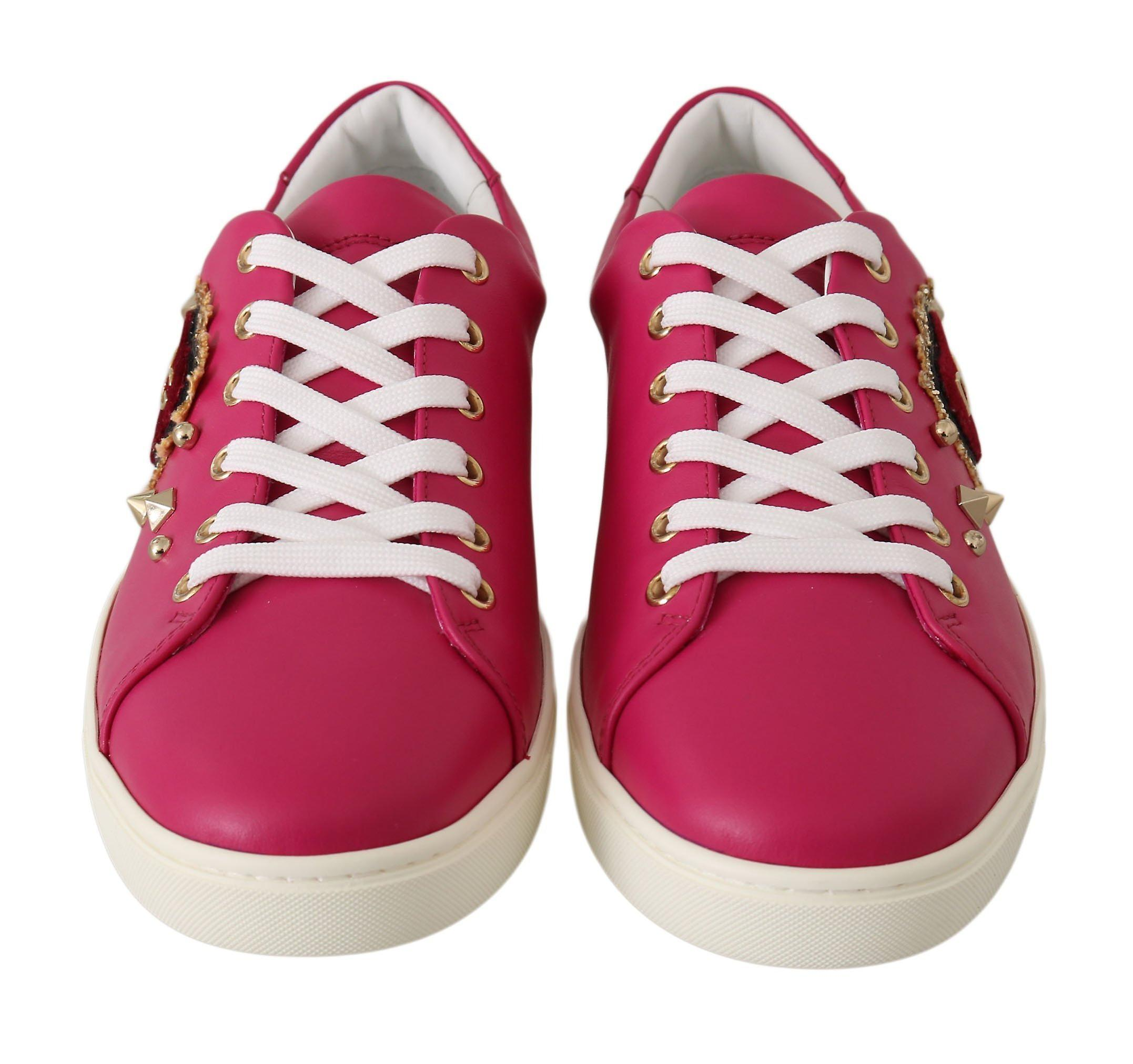 Dolce & Gabbana Pink Leather Gold Red Heart Shoes Sneakers -- LA59814576