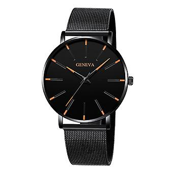 Geneva Quartz Watch - Anologian Luxury Movement for Men and Women - Stainless Steel - Black-Orange