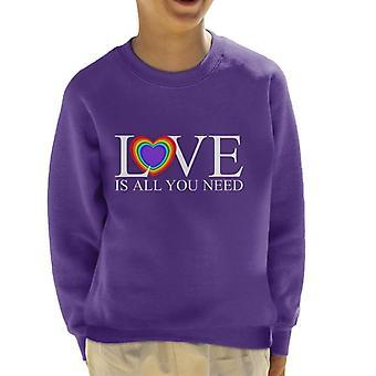 Love Is All You Need Rainbow Heart Kid's Sweatshirt