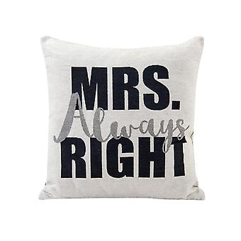 AK4245K, Mrs. Always Right White Cotton Jacquard Printed Decorative Toss Throw Accent Pillow by Danya B.