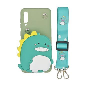 Samsung Galaxy A50 skal/plånboksfodral Dinosaurie/grön