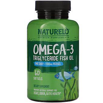 NATURELO, Omega-3, Triglyceride Fish Oil, 1,100 mg, 60 Softgels