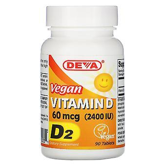 Deva, Vegan Vitamin D, D2, 60 mcg (2,400 IU), 90 Tablets