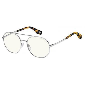 Sunglasses Unisex round double bridge flamed black transparent