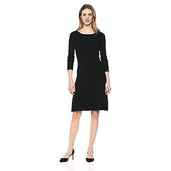 Lark & Ro Women's Long Sleeve Flared Sweater Dress, Black, X-Small