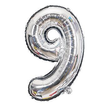 Nummernballon 53 cm, Nummer 9 - silber