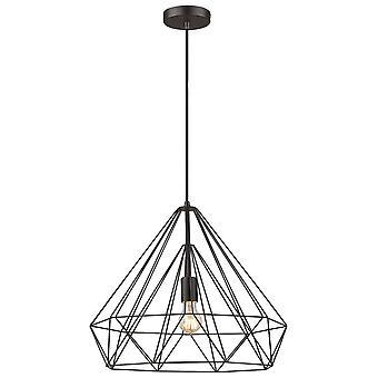 1 Light Wire Large Ceiling Pendant Matt Black, E27