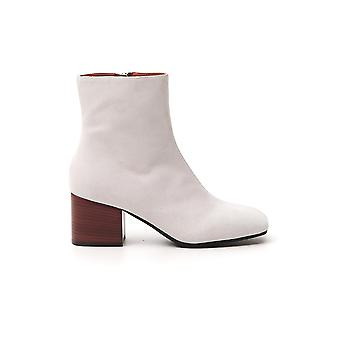 Marni Tcms005206p358000w06 Dames's White Leather Enkellaarsjes