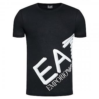 EA7 Emporio أرماني شعار الطاقم الرقبة تي شيرت أسود 6HPT07 PJA2Z