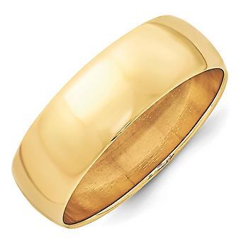 14k giallo oro 7mm Ltw mezza fascia rotonda anello - anello Dimensione: 4-14