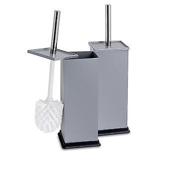 Square Steel Bathroom Toilet Brush & Holder Set - Grey - Pack of 2