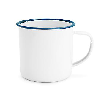 Rink Drink White Émail Coffee / Teacups - 240ml - Garniture bleue