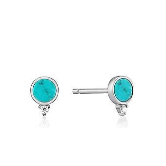 Ania Haie Hidden Gem Rhodium Turquoise Stud Earrings E022-01H