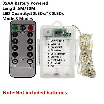 8 Modes-aa Batteri 1/2/5/10/20m- Fairy Lights Kobber Wire Led String Lights Holiday Lighting