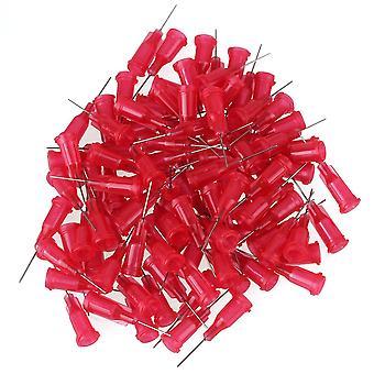 100PCS Needle Blunt Tip for Liquid Dispenser Adhesive Glue 25Ga Red
