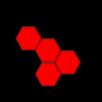 Red Led Honeycomb Quantum Hexagon, Wall Lamp With Touch Sensitive - Decorative