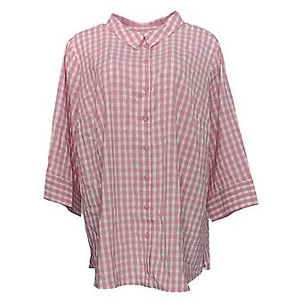 Joan Rivers Classics Collection Women's Plus Top Gingham Pink A352384