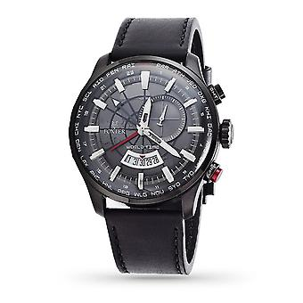 Foxter Avalone men's watch black leather strap, black PVD case and black background - FR6041C1BC1