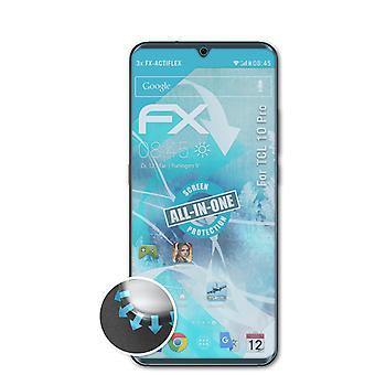 atFoliX 3x فيلم واقية متوافقة مع TCL 10 برو حامي الشاشة واضحة ومرنة