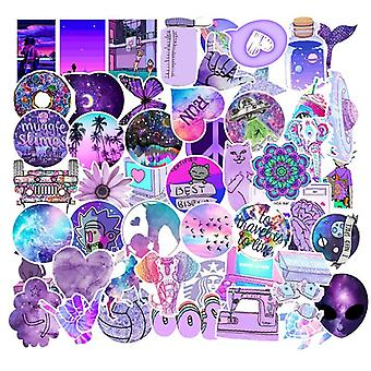 Purple Style Graffiti Cartoon Waterproof Sticker For Laptop, Phone, Luggage,