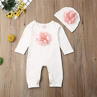 Vêtements nouveau-nés Baby Girls Long Sleeve Rompers Rose Floral Jumpsuit Body