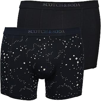 Scotch & Soda 2-Pack Star Print And Solid Boxer Briefs, Black