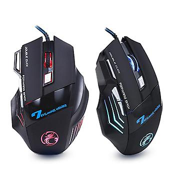 Ergonomic 5500 dpi wired gaming mouse with 7 button led backlight