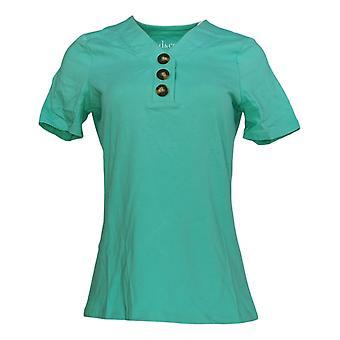 Denim & Co. Women's Top (XXS) Essentials Jersey Henley Green A379770