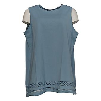 DG2 por Diane Gilman Women's Plus Top Blue Tank Cotton Sleeveless 725-598