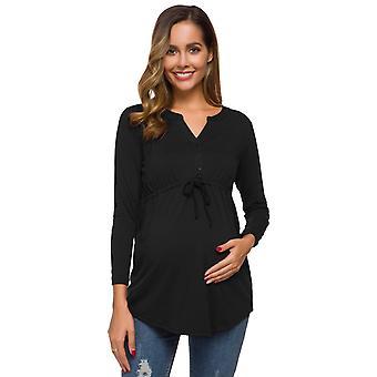 נשים&apos-חולצות הריון שרוול ארוך צווארון V Peplum עניבה עצמית חולצות הריון