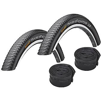 """Velo.Set 2 x Continental Double Fighter Tires = 37-622 (28×1.4"""") + Hoses"""