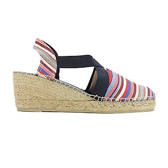 Toni Pons Tarbes Cannes Multi Coloured Striped Canvas Womens Pull On Wedge Espadrille Shoes