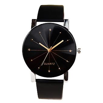 Men Women Leather Strap Line Analog Quartz Ladies Wrist Fashion&luxury Watch