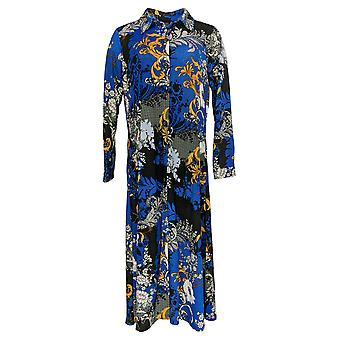 Attitudes by Renee Women's Petite Top Printed Button Duster Blue A382809