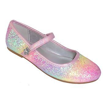Mädchen Regenbogen Glitzer Ballerina rosa Schuhe