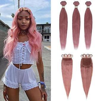 Beumax Bundles With Closure Straight Pink Blonde Human Hair Bundles