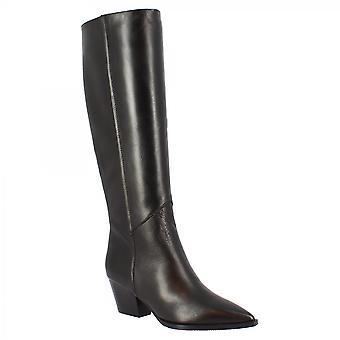 Leonardo Schuhe Frauen's handgemachte spitze Zeh quadratische Fersen kniehohe Stiefel in schwarzem Napa Leder mit seitlichem Reißverschluss