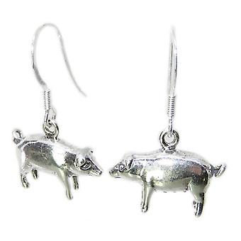 Pig Sterling Silber Ohrringe .925 X 1 Paar Schweine Schweinchen Tropfen - 8477