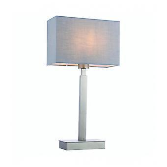 Norton Rectangular Table Lamp In Steel, Matt Nickel Plate And Gray Fabric