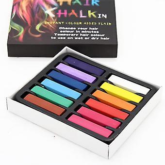 Women Non-toxic Temporary Salon Kit Chalk Pastel Use For Hair (12colors)