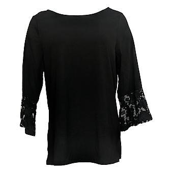 Belle By Kim Gravel Women's Top TripleLuxe Geometric Lace Sleeve Black A344227