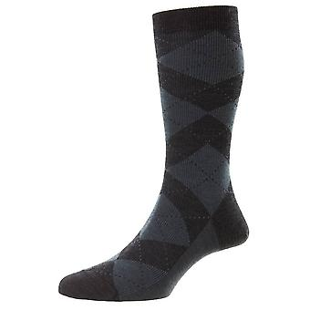 Pantherella Abdale Merino Wool Argyle Socks - Cinza carvão