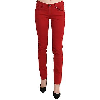 Red Cotton Stretch Low Waist Skinny Trouser Jeans