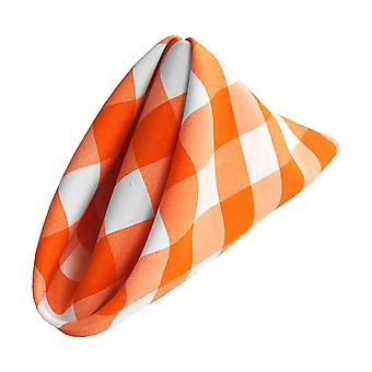 La Linen Pack Of 10 Gingham Checkered Napkins 18 By 18-Inch, White And Orange