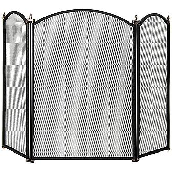 Selby 3 Panel Fire Guard Freestanding Fireplace Screen, Black